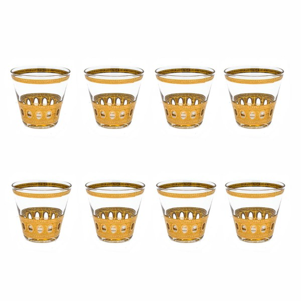 """Culver """"Antigua"""" 22k Gold Double Old Fashioned Glasses, Set of Eight (8)"""