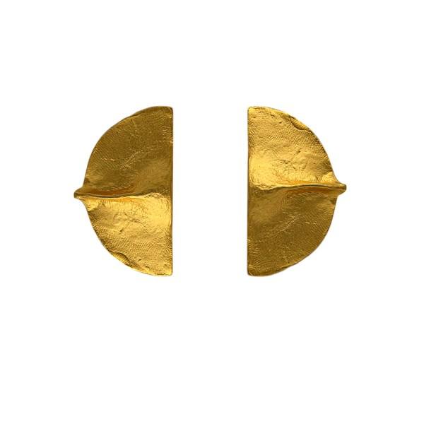 "Carol Dauplaise 1 3/4"" Gilt ""Fortune Cookie"" Earrings, 1990"