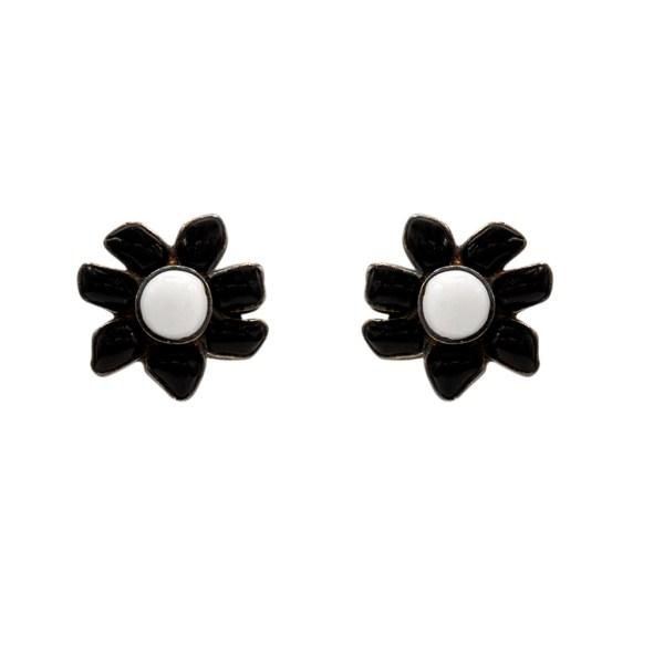 Chanel Black & White Gripoix Flower Earrings