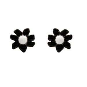 Chanel Black & White Gripoix Flower Earrings