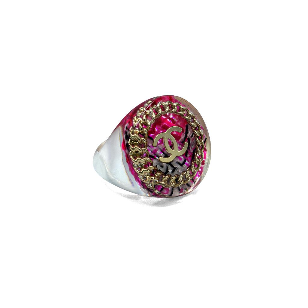 Chanel Acrylic Pink Plaid & Gilt Logo Ring, Spring 2014