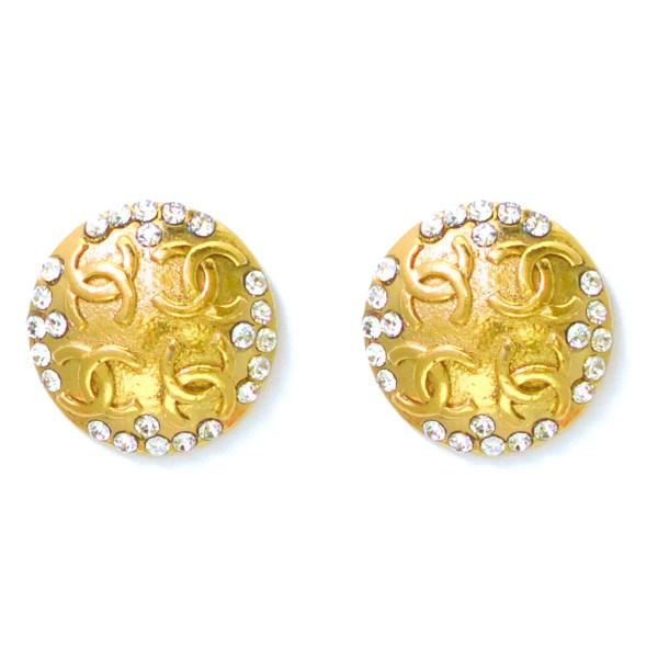 """Chanel 1 1/4"""" Gilt Domed Paste Logo Earrings, 1986"""
