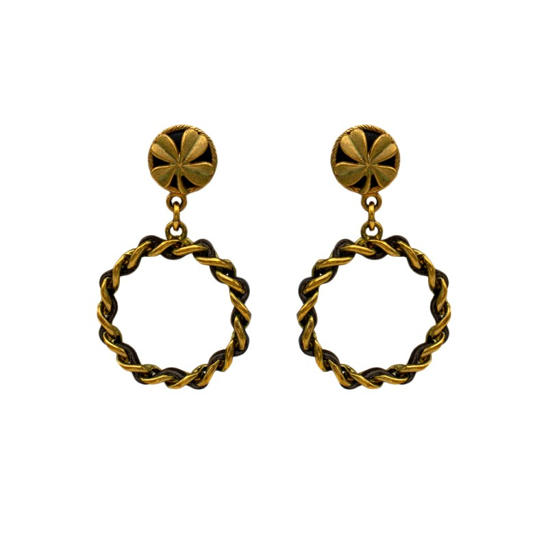 "Chanel 2 5/8"" Gilt & Leather 4-Leaf Clover Topped Hoop Earrings, Spring 1994"