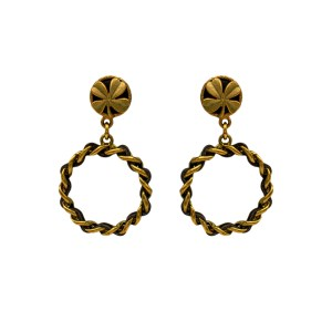 Chanel 2 5/8″ Gilt & Leather 4-Leaf Clover Topped Hoop Earrings, Spring 1994