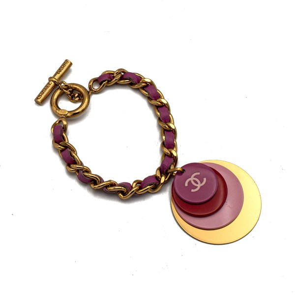 """Chanel 7 34"""" Pink Leather & Gilt Chain Toggle Bracelet with Bright Disk Charms, Autumn 2001"""