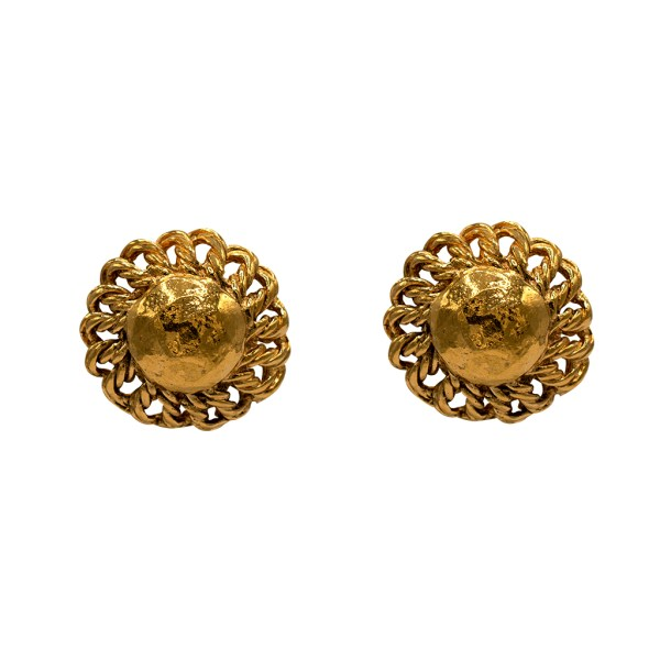 "Chanel 1 3/16"" Gilt Rope Twist Dome Framed Earrings, 1986"