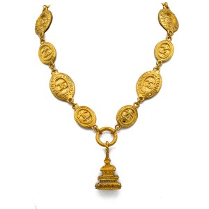"Chanel 17 1/4"" Double Sided Gilt Station Necklace with Fob Pendant, 1980"