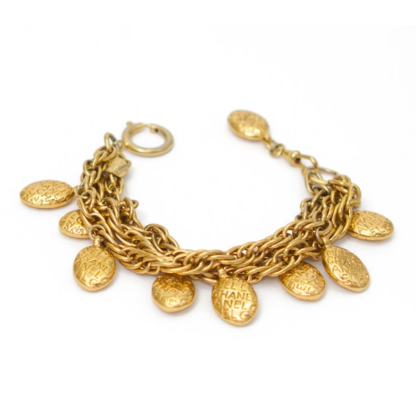 Chanel Gilt 3 Strand Bracelets with Oval Embossed Charms, 1980