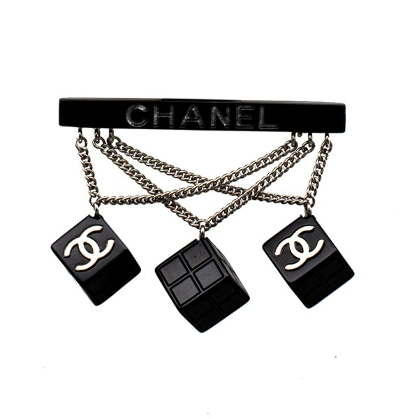 Chanel Black Acrylic Bar Brooch with Swag Cube Charms, 2004