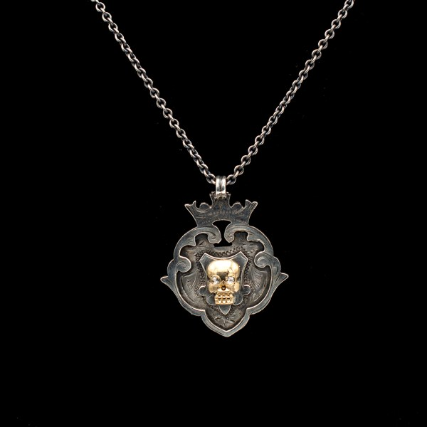 Memento Mori Crowned Shield Pendant with Rose Cut Diamond Eye Yellow Gold Skull