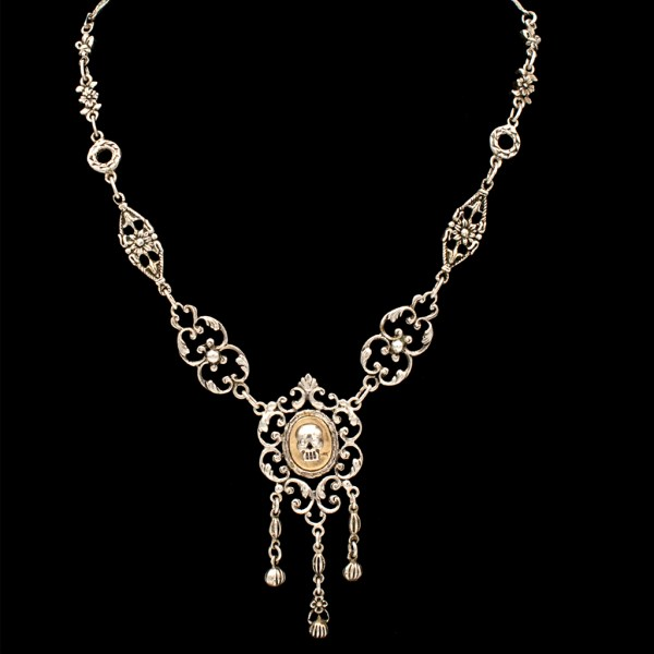 Memento Mori 1940's Silver Floral Swirl Necklace with Diamond Eye Skull