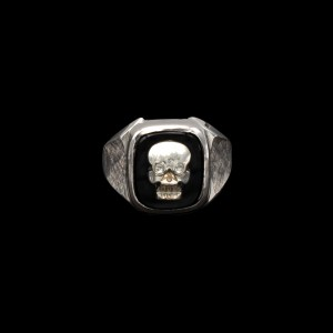 Memento Mori Sterling & Onyx Ring with Diamond Eye Bone Skull