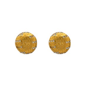 "Chanel 1"" Gilt Dome Earrings with Paste Accents, 1980"