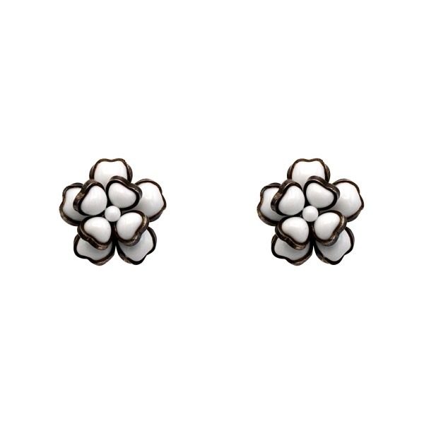 """Chanel 1 1/8"""" White Gripoix Dimensional Camellia Earrings, Spring 1996"""