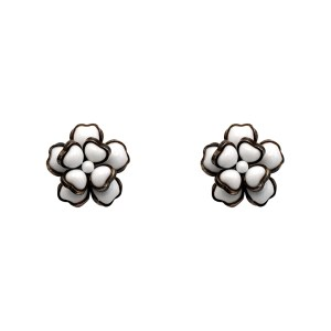 "Chanel 1 1/8"" White Gripoix Dimensional Camellia Earrings, Spring 1996"