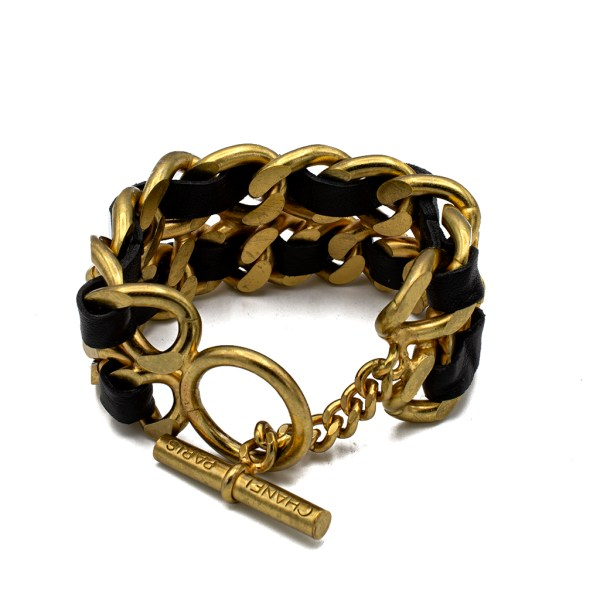 "Chanel 7 3/4"" Gilt & Leather Chain Bracelet, Spring 1995"