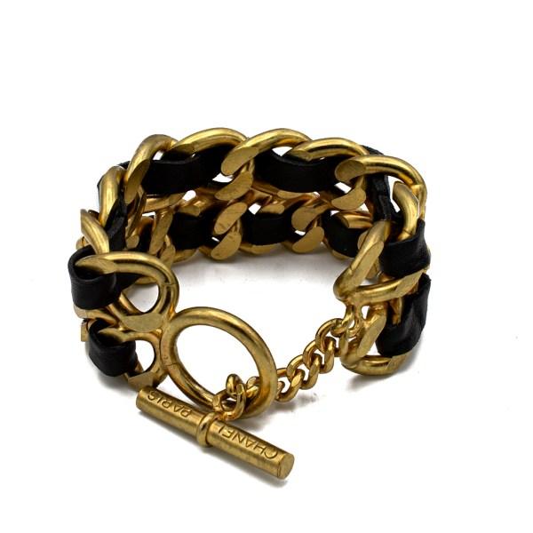 "Chanel 7 3/4"" Gilt & Leather Chain Bracelet, Spring 1995"