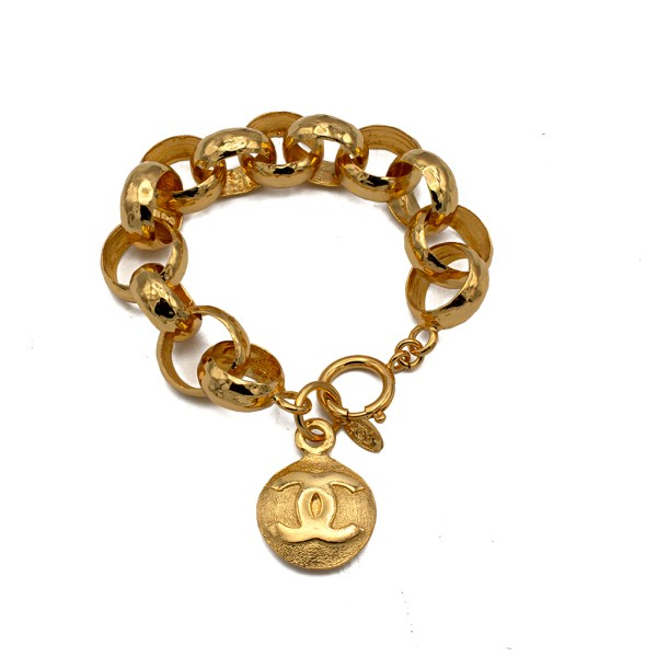 "Chanel 9 3/4"" Hammered Link Bracelet with Logo Charm, 1992"