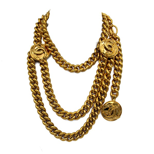 Chanel Double Swag Gilt Curb Chain Belt/Necklace, Spring 1994
