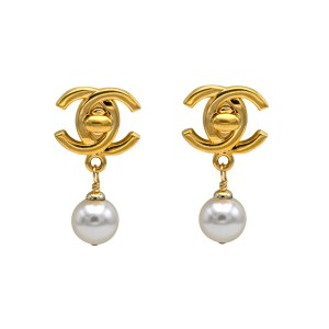 Chanel 1 1/2 Gilt Turn Clasp Logo Earrings with 12mm Pearl Drop, Spring 1996