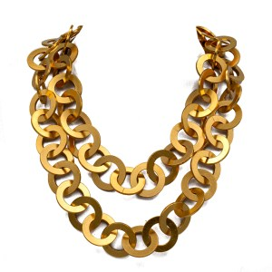 "Chanel 38"" Gilt Flattened Link Chain Necklace, Spring 1993"