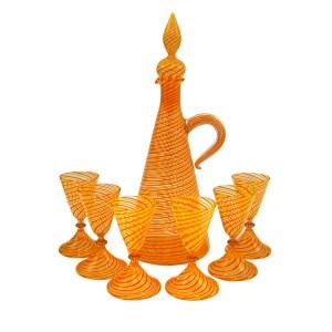 Bimini Werkstatte Orange & Yellow Swirl Decanter & Cordial Glasses, 1930