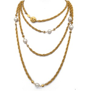 "Chanel 68"" Oval Link, Pearl, & Logo Bead Necklace, 1982"