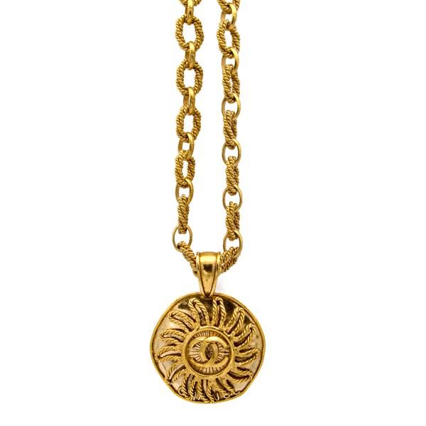 Chanel Rope Twist Sun Pendant Necklace, Autumn 1994