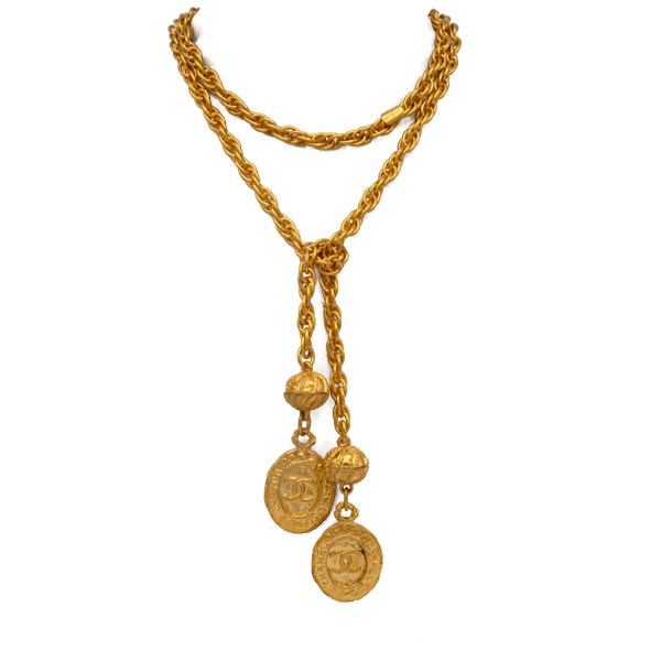 "Chanel 44 3/4"" Gilt Lariat Necklace with Double Oval Pendants, 1980"