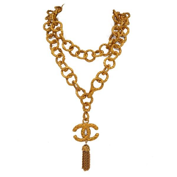 "Chanel 37"" Gilt Swirl & Tassel Pendant Necklace, Autumn 1995"
