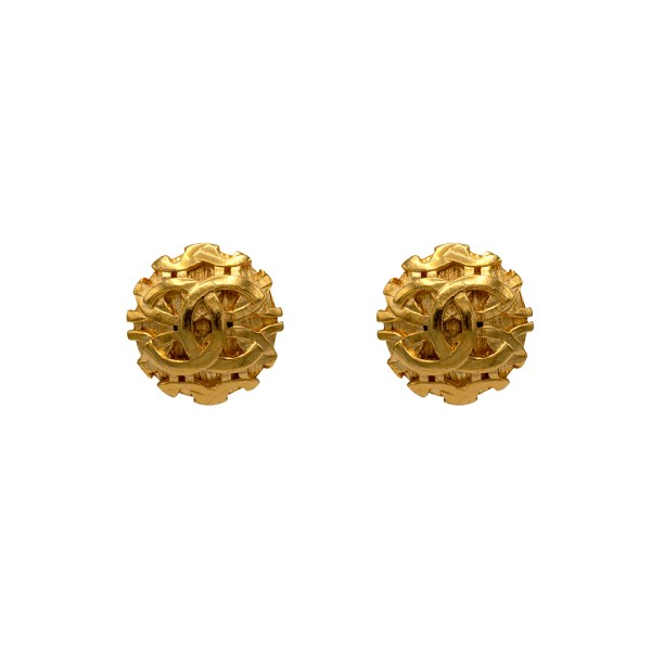 Chanel 1 1/4 Gilt Dome Interlocking Logo Earrings, 1995
