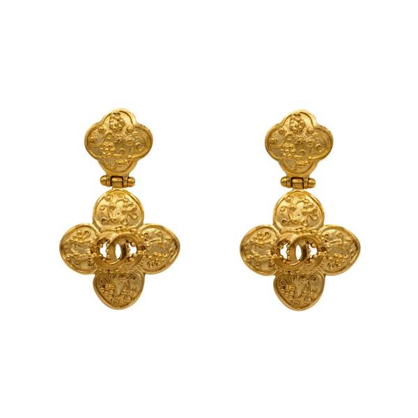 "Chanel 2 3/16"" Gilt Quatrefoil Dangle Earrings, Autumn 1996"