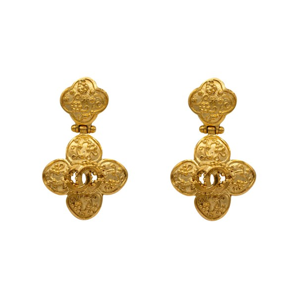 "Chanel 2 3/16"" Gilt Quatrefoil Dangle Earrings, Autumn 1996"