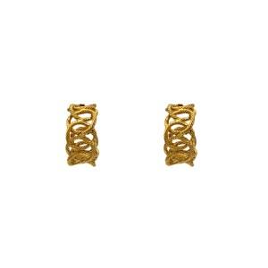 """Chanel 1 3/8"""" Gilt Rope Twist Chain Hoop Earrings, 1988"""