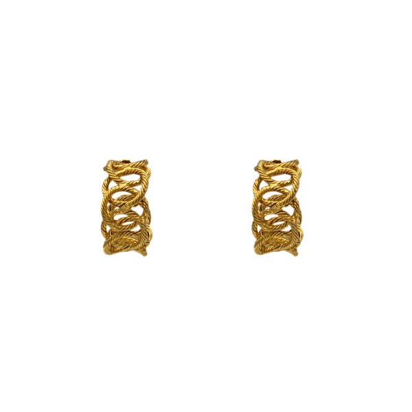 "Chanel 1 3/8"" Gilt Rope Twist Chain Hoop Earrings, 1988"