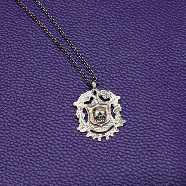 Sterling, Rose Gold, & Paste Memento Mori Necklace