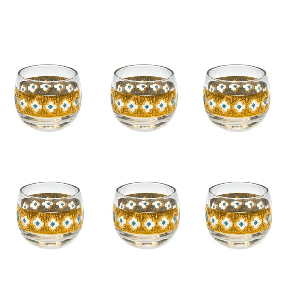 "Set of 6 (six) Culver ""Seville"" Pattern small roly poly martini glasses embellished with 22k gold."