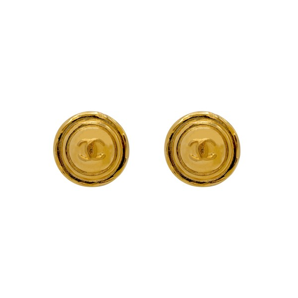 "Chanel 1 1/4"" Gilt Dome Logo Earrings, 1980"