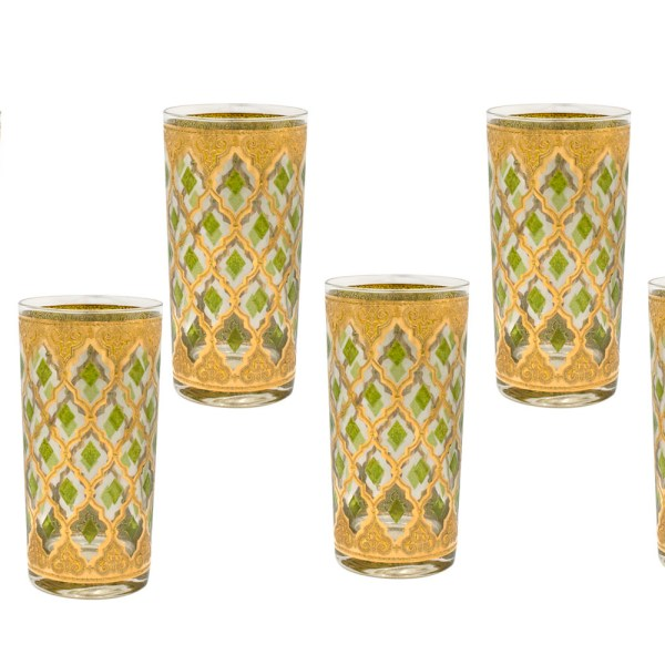"Culver ""Valencia"" Green & 22k Gold Highballs, Set of Six (6)"