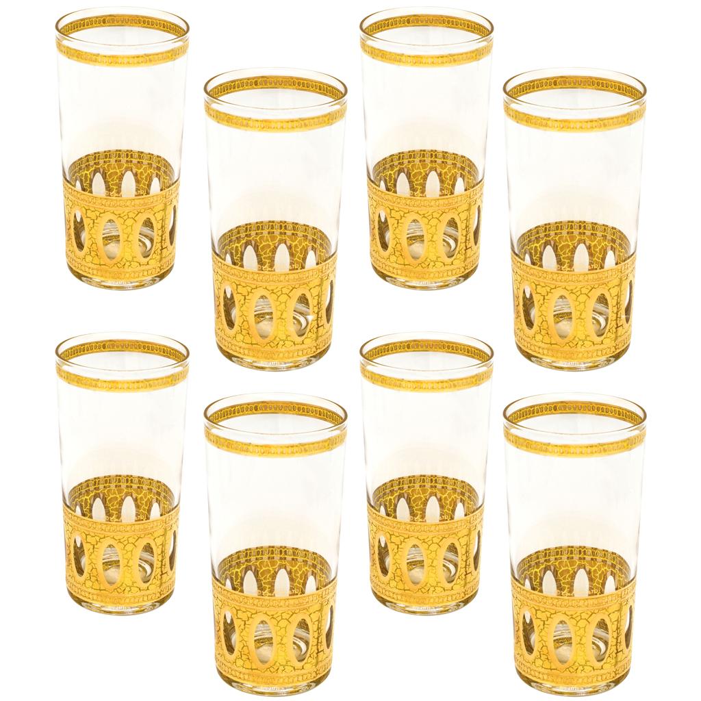 "Culver 22k Gold ""Antigua"" Highballs, Set of Eight (8)"