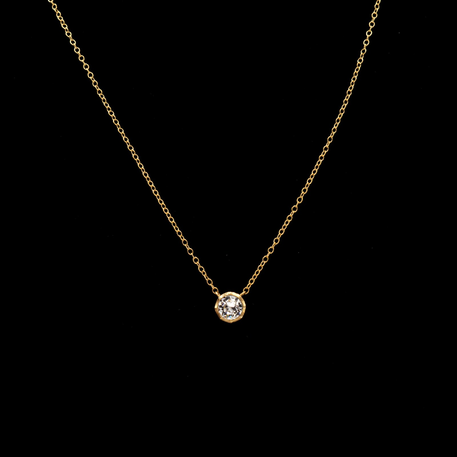 Revival Paste 14k Gold Small Solitaire Necklace