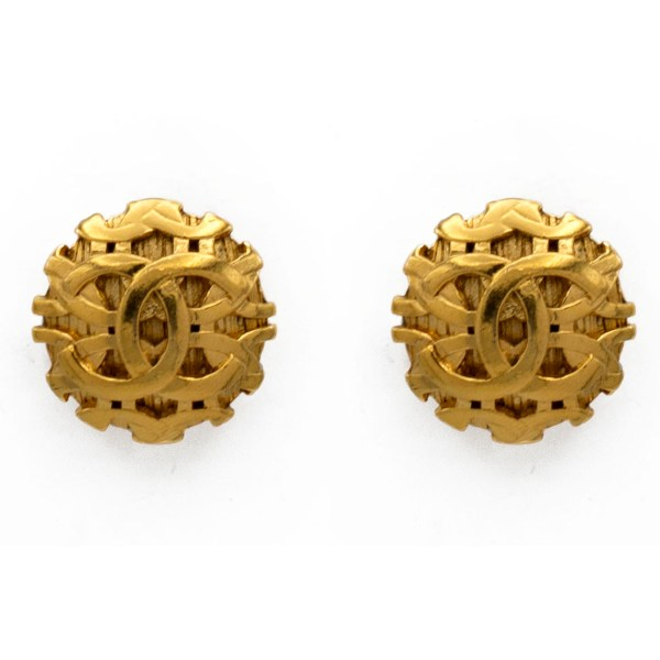 Chanel Gilt Interlocking Logo Dome Earrings, 1988