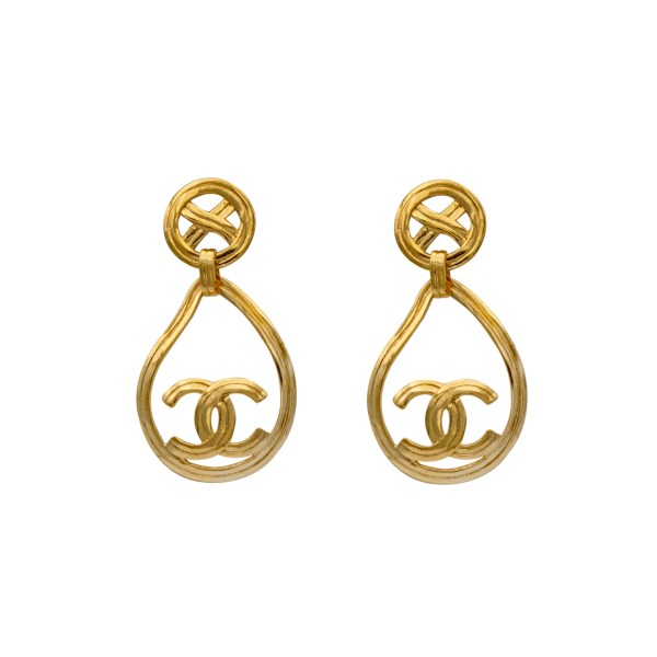 Chanel Gilt Modern Paisley Drop Earrings, Spring 1996