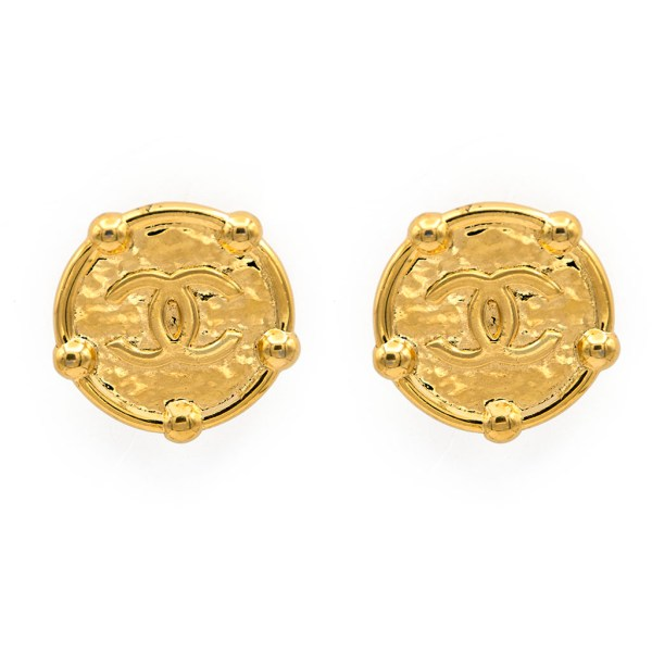 "Chanel 1 9/16"" Gilt Disk Bead Surround Earrings,1989"