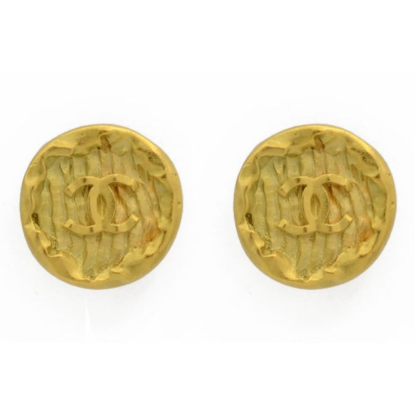 "Chanel 1 1/16"" Gilt Wax Seal Earring, Spring 1995"