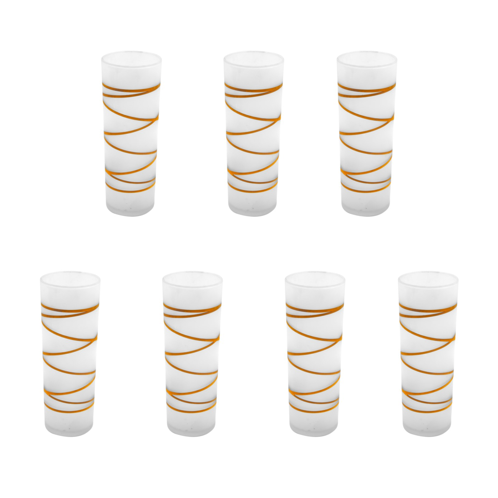 Frosted Tom Collins Glasses with 22k Gold Swirl Ribbon, Set of Seven (7)