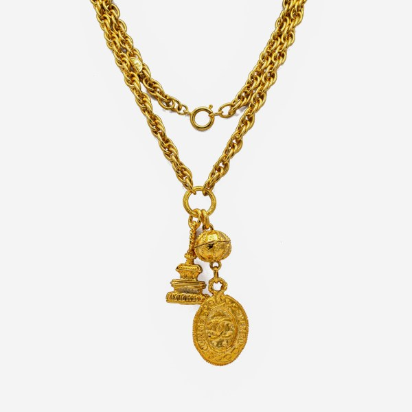 "Chanel 34"" Logo Fob & Pagoda Charm Necklace, 1980s"
