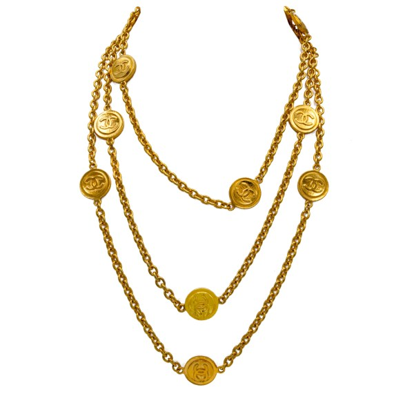 """Chanel 70"""" Gilt Necklace with 12 Logo Stations, 1980"""