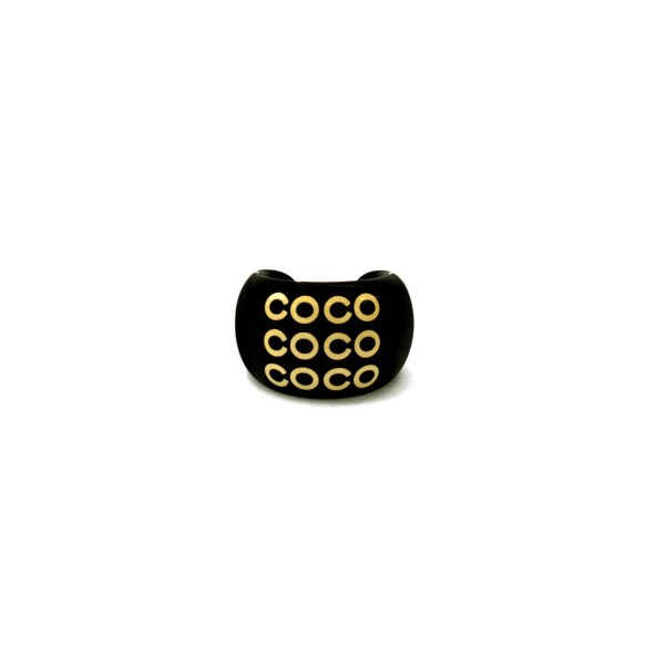 Chanel Black Acrylic COCO ring, Spring 2001