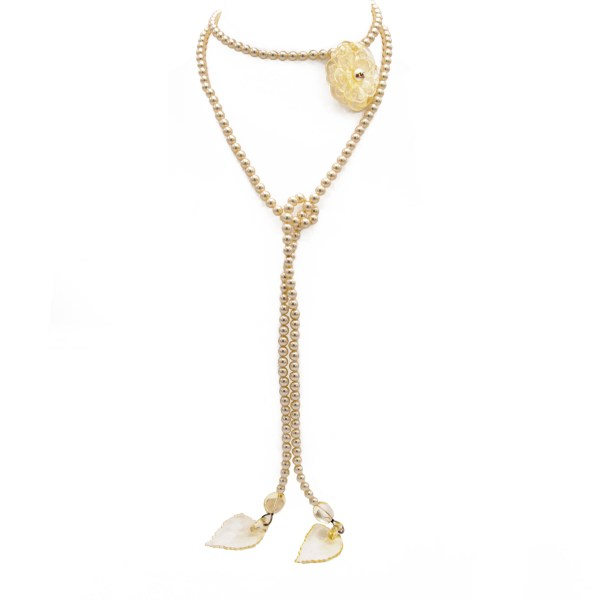 "Chanel 51"" Pearl Lariat Necklace with Lucite Camellia, Spring 2003"